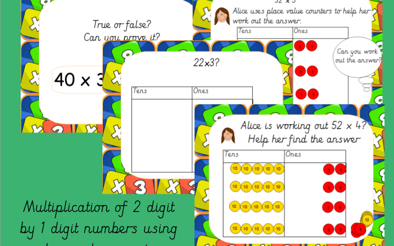 Year 3 Multiplication of 2 Digit Numbers by 1 Digit Numbers Using Place Value Counters