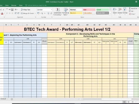 BTEC Tech Award Performing Arts - Tracker (Teacher)