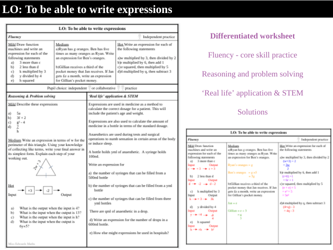 Writing expressions - Worksheet