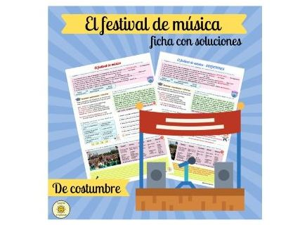 El festival de música. Con soluciones. Spanish VIVA GCSE. Worksheet music festivals. With answers