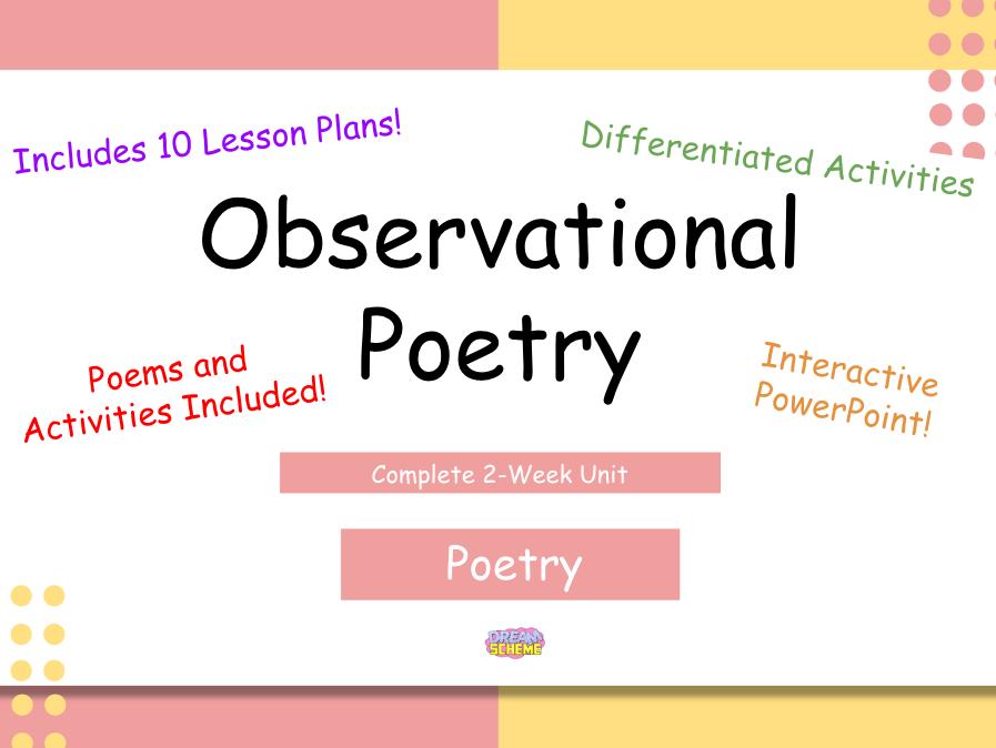Year 5: Observational Poetry - Complete 2-Week Unit
