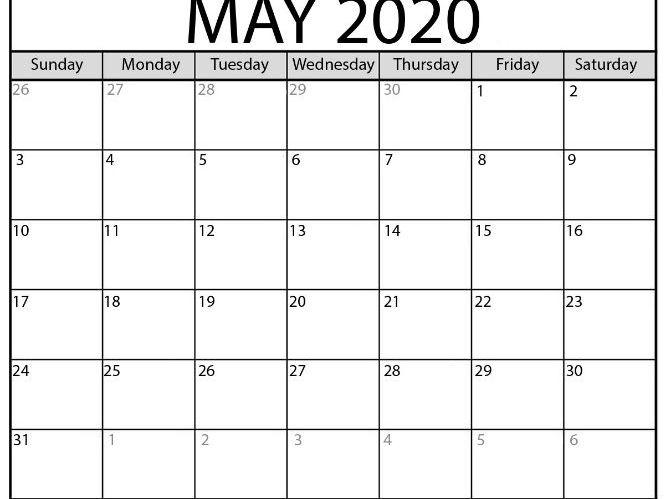 Blank May 2021 Calendar Printable