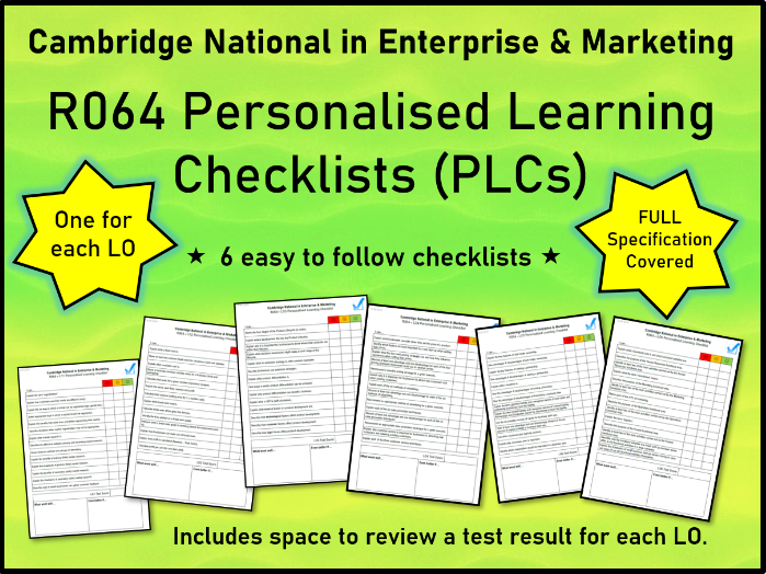 R064 PLCs - Personalised Learning Checklists (All LOs) Cambridge National in Enterprise & Marketing