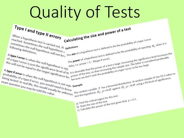 Quality of Tests Edexcel Further Statistics 1