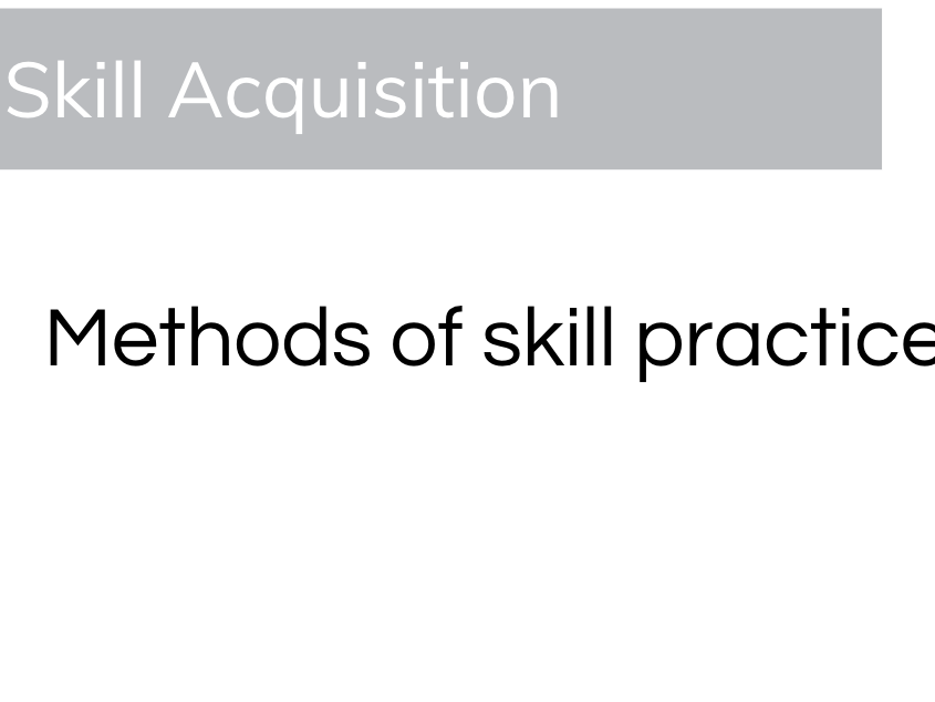 Skill Acquisition - Types and Methods Of Practice