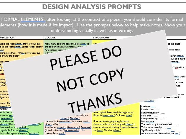Analysing Graphic Design - a student prompt sheet: detailed