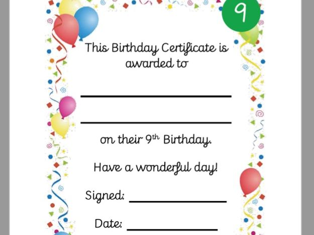 Birthday Certificate 6th 7th 8th 9th 10th 11th