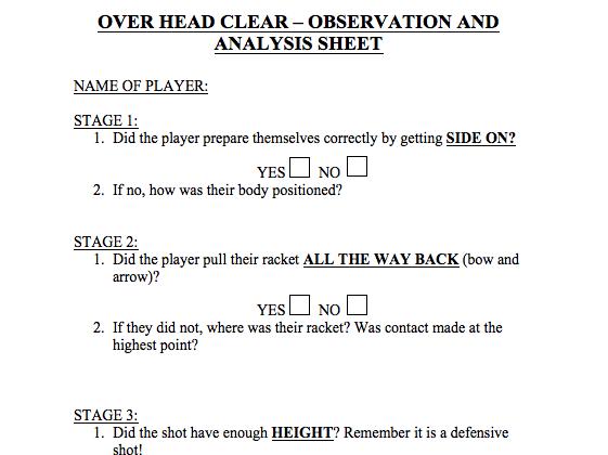 P.E Badminton -Task Cards