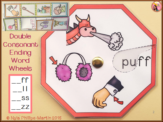 Phonics Doubled Consonant Endings - Word Wheels and Foldables