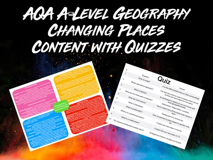 AQA A-LEVEL Geography Changing Places Content with Quiz