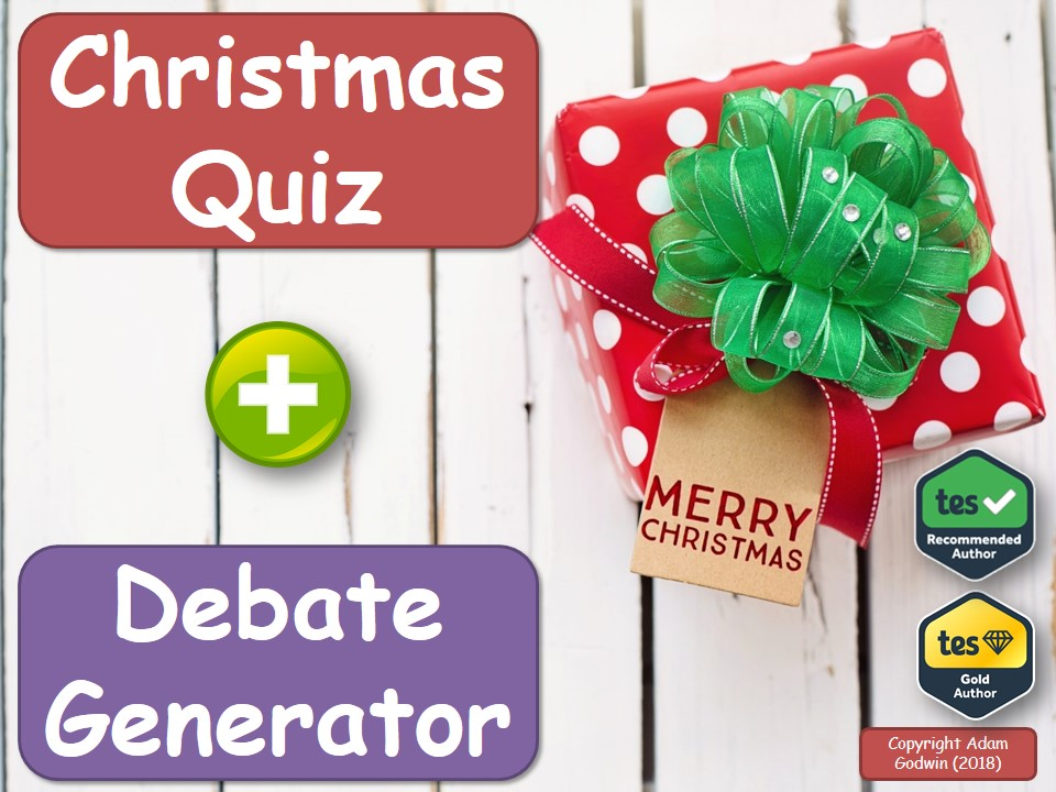 English Christmas Quiz & Debate Generator (Easy Christmas Lesson, P4C)