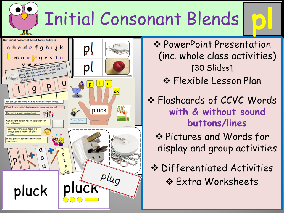 Phonics Initial Consonant Blends PlCCVC Words Presentation – Consonant Blend Worksheets