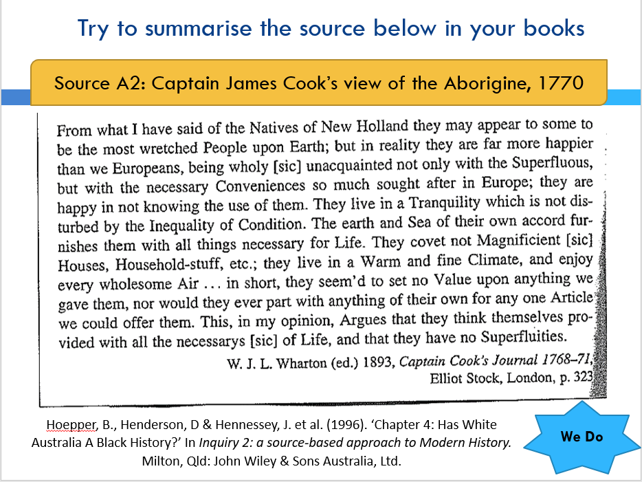 Australian Frontier Wars - 11 Modern History - Summarising Written Sources (skills lesson)