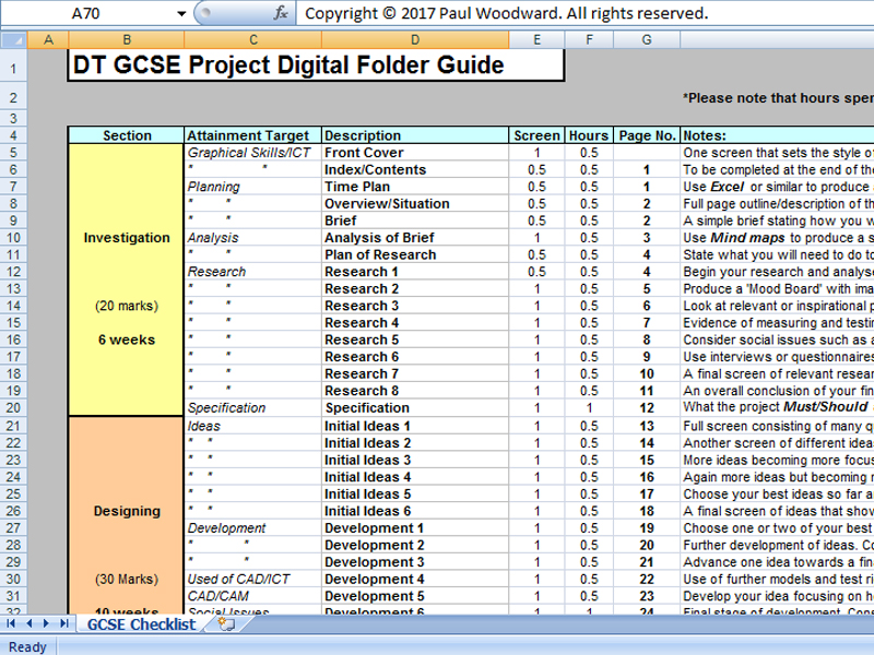 GCSE Design and Technology Digital Folder Checklist