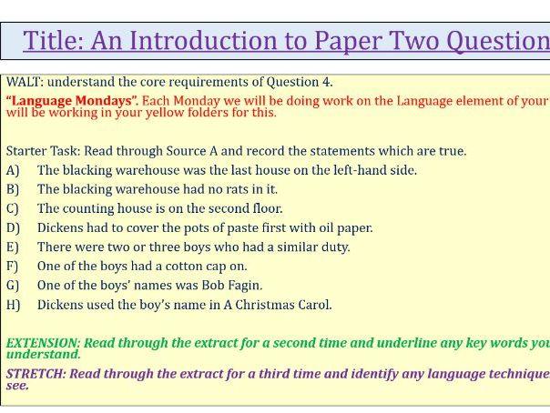 Dickens Language Paper 2 Q4