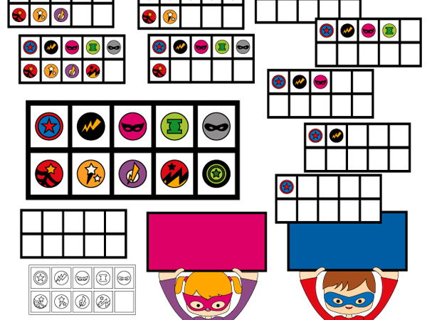 Superhero Ten Frames Clipart - Math clip art - Counting 0 to 10