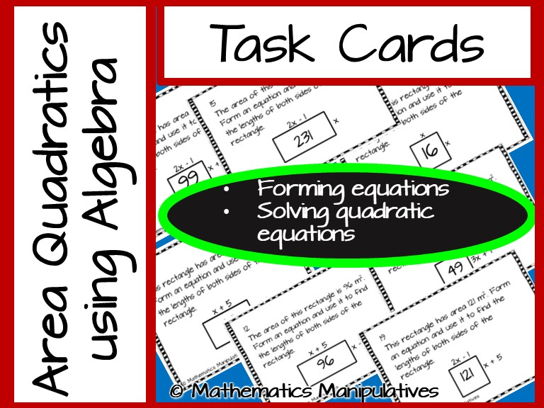 Task Cards Area Algebra Quadratic Equations