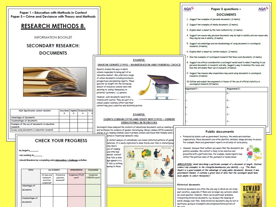 AQA A-level Sociology Research Methods Booklet 8 - Documents (within the context of education)