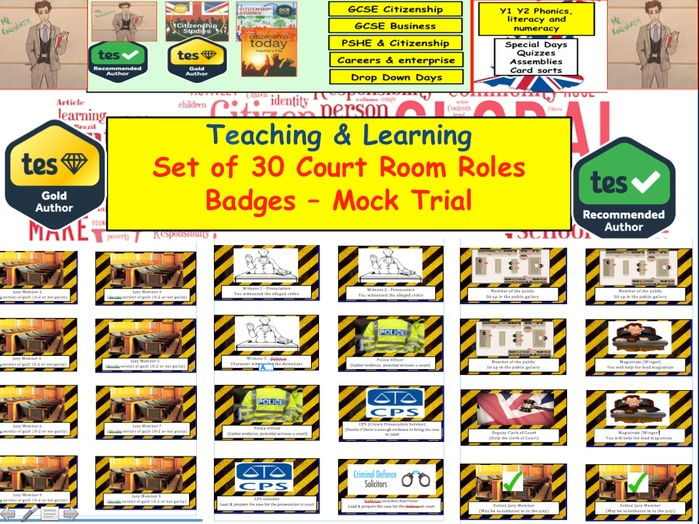 Court Room Badges - Criminal Law Mock Trial