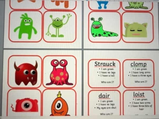 Name the alien phonics game Year 1 phonics screen Guess who match name to description