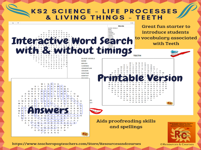 KS2 Life Processes & Living Things - Teeth Interactive Word Search Puzzle