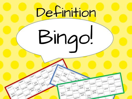 Definition Bingo! (Year 6 grammatical terms)