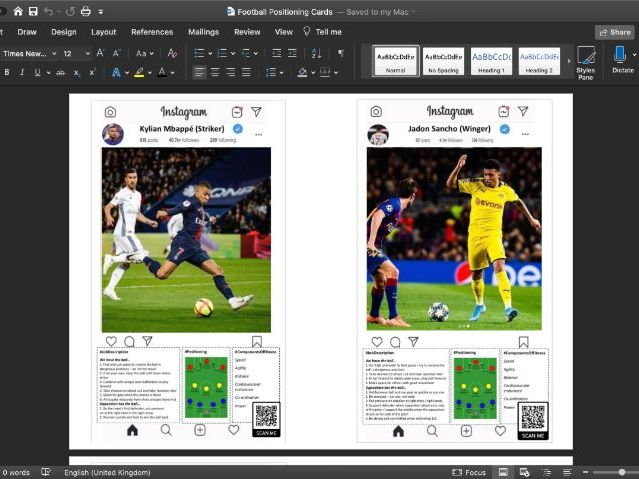 Football Warm Up Positional Cards - MENS