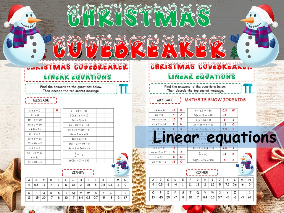 Christmas maths Codebreaker on linear equations
