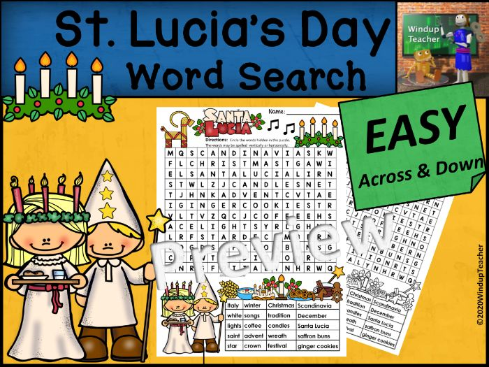 St. Lucia's Day Word Search   EASY Puzzle   Ready to Go!
