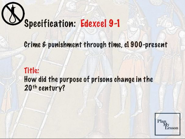 Edexcel 9-1 Crime and Punishment: Lesson 28 How did the purpose of prisons change in the 20th centur