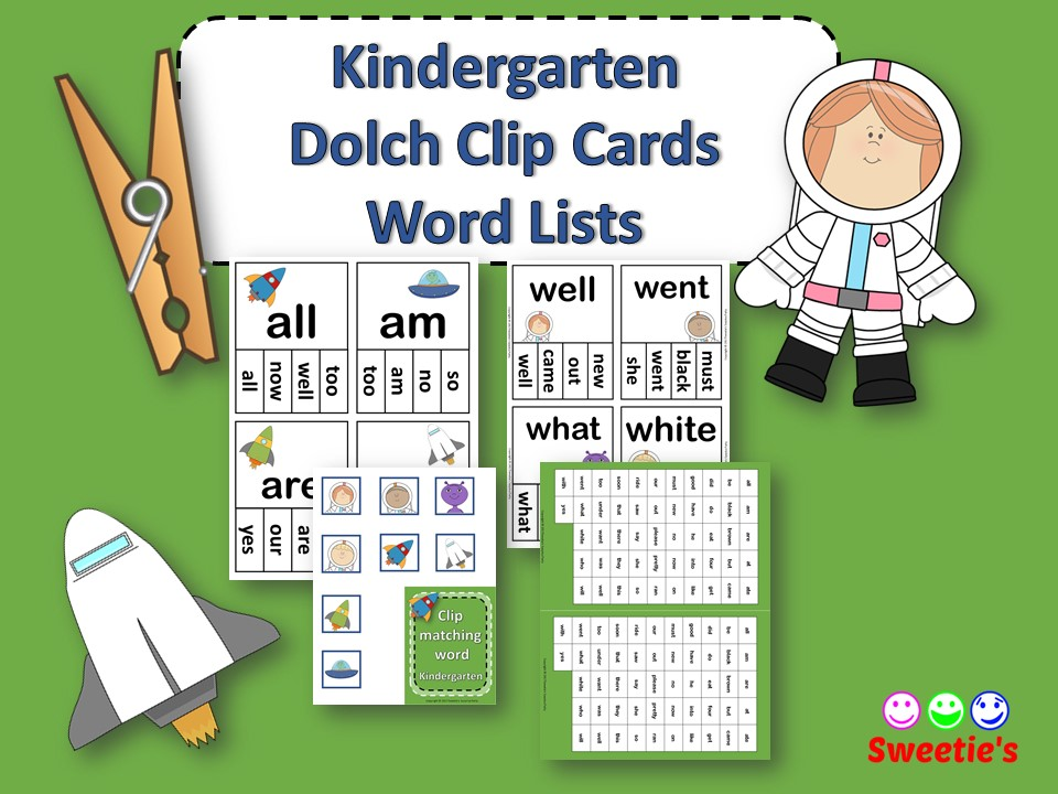 Dolch Sight Words Kindergarten Clip / Clothespin Cards - Space Theme