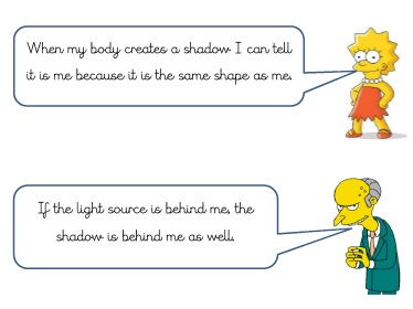 Statements about light and shadow to explore with children