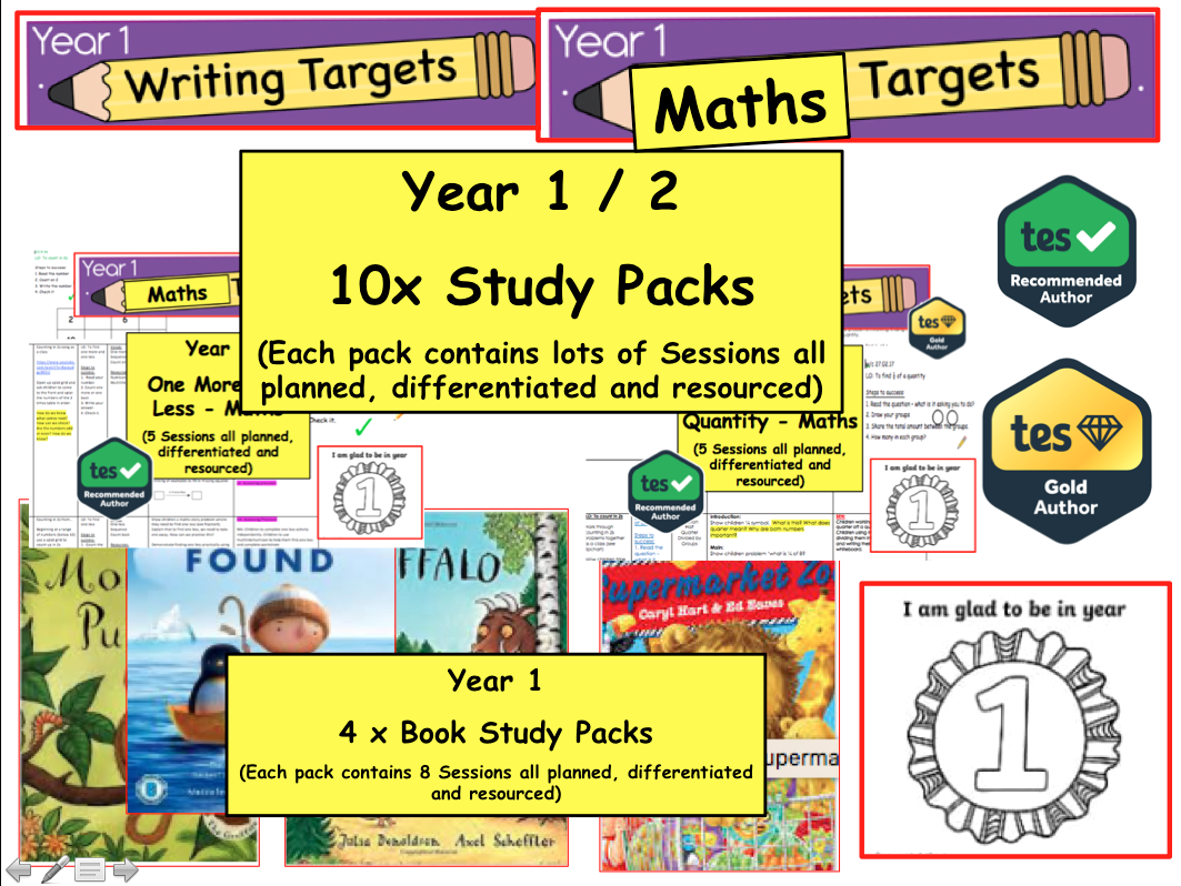 Year 1 / 2 Phonics , Reading , Numeracy Teaching Packs  for weeks of lessons