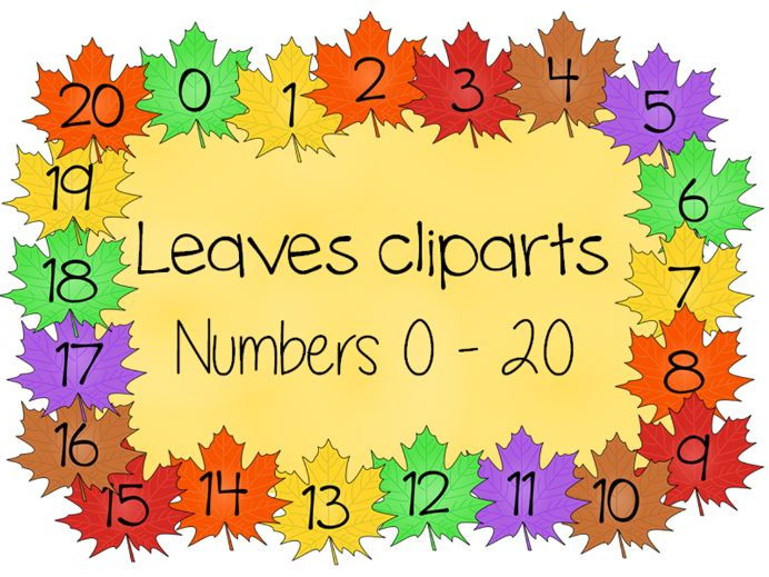 Autumn numbers, leaves cliparts, numbers 0-20
