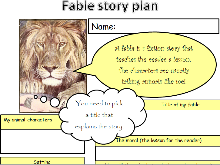 KS1 & 2 Fable planning template.