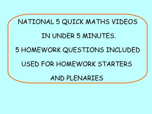NATIONAL 5 MATHS LESSONS. VIDEOS. HOMEWORK. STARTER. PLENARY. EXPRESSIONS AND FORMULAE UNTI