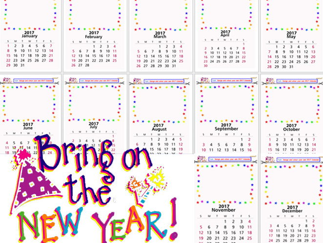 NEW YEAR WHOLE CALENDAR AWESOME