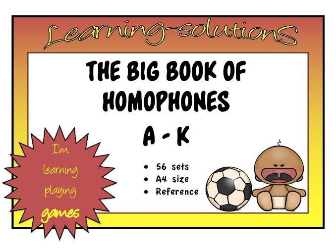 HOMOPHONES - THE BIG BOOK OF HOMOPHONES A-K - 56 sets of Homophones -  A4 size Posters