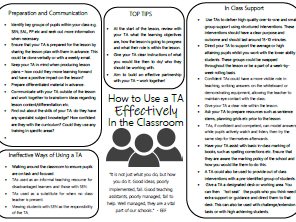 How to use a TA effectively in the classroom mat