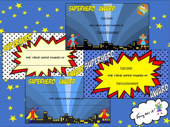 Superhero Award Certificates - generic by Fairydoesit ...