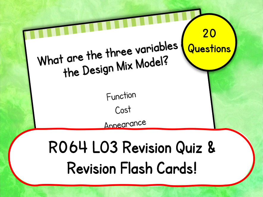 R064 LO3 Revision Quiz & Flashcards Cambridge National in Enterprise & Marketing
