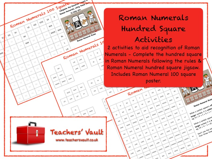 Roman Numerals Hundred Square Activities