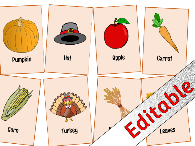 Thanksgiving Picture Snap Cards - Editable