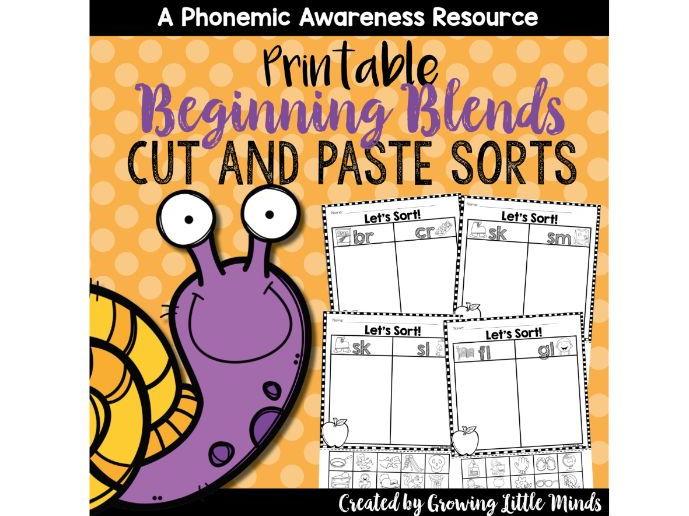 Beginning Blends Phoneme Isolation Sorts