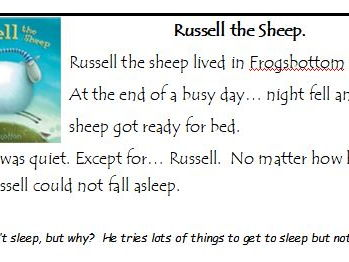 Guided Reading Year 1 or 2 Russell the Sheep.