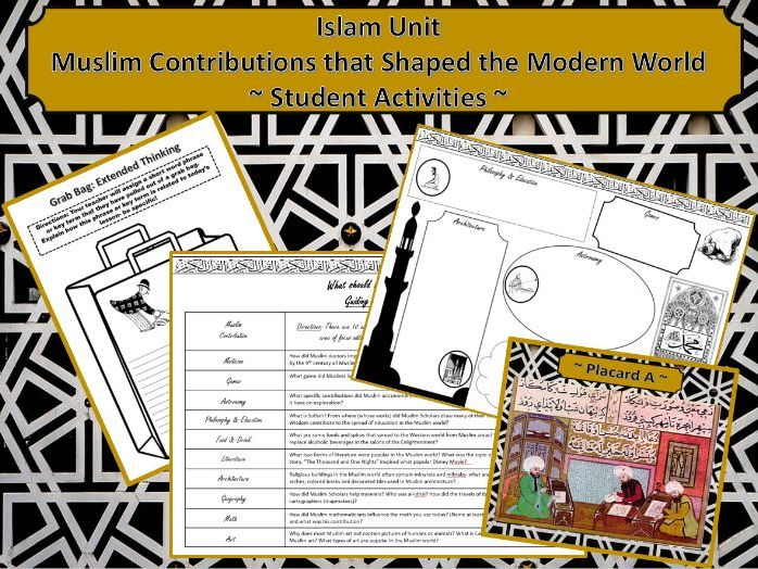 Islam Unit: Muslim Contributions that Shaped the World ~Student Activities~