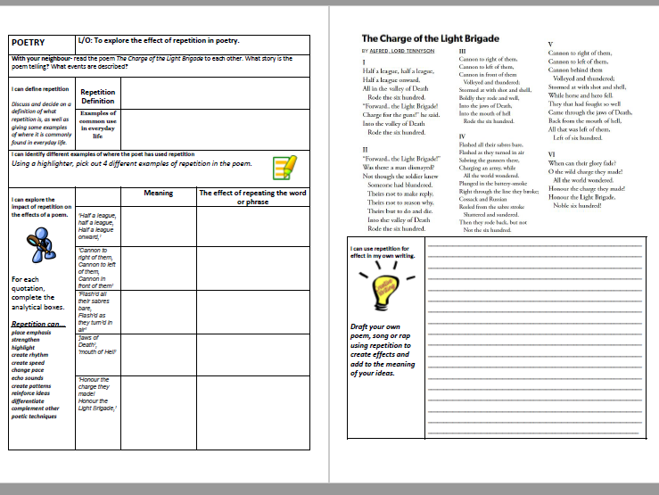 Repetition Worksheet Lesson