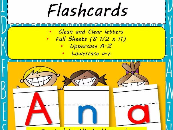 Large Letter Flash Cards ( A to Z) with Handwriting Lines
