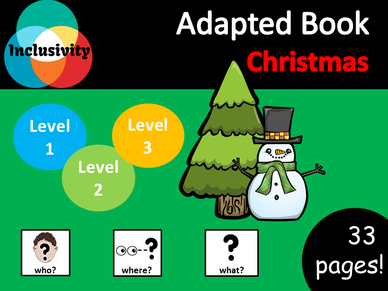 Christmas WHO, WHERE, WHAT? Adapted Book preposition; Level 1, Level 2 and Level 3