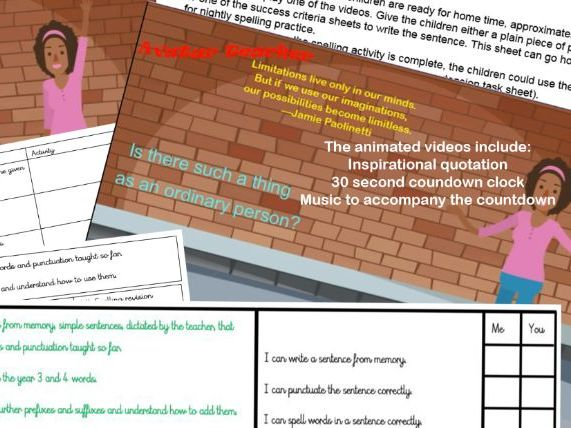 Year 3 and 4 spellings video pack (pack 2 of 5)